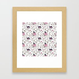 Black cats and paeony flowers Framed Art Print
