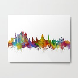 Brussels Belgium Skyline Metal Print