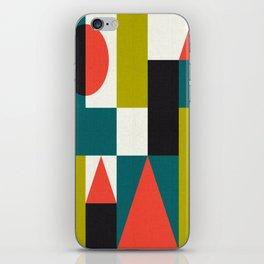 Mid-century block pattern iPhone Skin