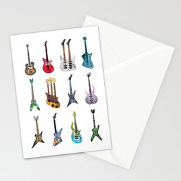 Electric Guitars Watercolor Stationery Cards