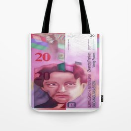 20 Swiss Francs note bill -Front side Tote Bag