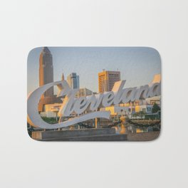 Cleveland Ohio City Skyline Script Sign Browns Bath Mat