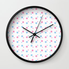 new polka dot 80 blue and pink Wall Clock