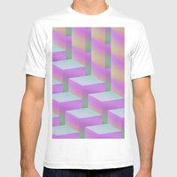Fade Cubes II White MEDIUM Mens Fitted Tee