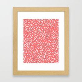 Claudia - abstract minimal coral dot polka dots painterly brushstrokes Framed Art Print