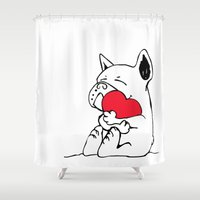 frenchie Shower Curtains featuring Frenchie Heart by Huebucket