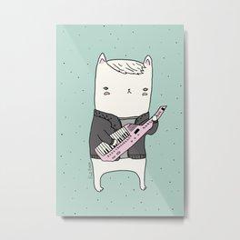 Keytar Cat Metal Print