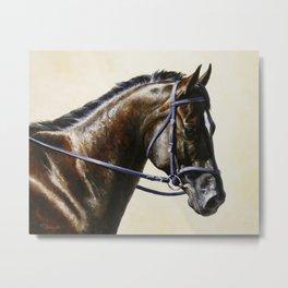 Dark Bay Dressage Horse Portrait Metal Print