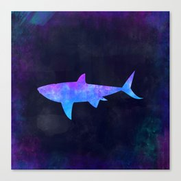 SHARK IN SPACE // Animal Graphic Art // Watercolor Canvas Painting // Modern Minimal Cute Canvas Print
