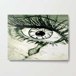 Crying Eye Graphite Illustration Metal Print