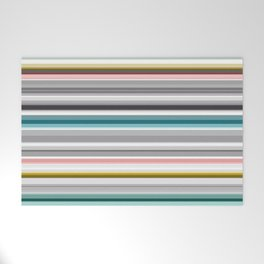 grey and colored stripes Welcome Mat