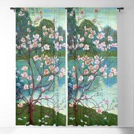 Springtime Pink Magnolias by the Kettle Pond landscape by Wilhelm List Blackout Curtain