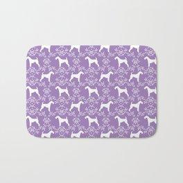 Airedale Terrier silhouette purple florals dog pattern pet art minimal black and white Bath Mat