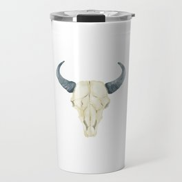 Tribal Bullhead Skull Travel Mug