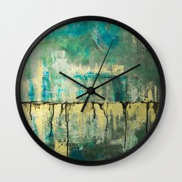 Abstract in Yellow and Green 2 Wall Clock