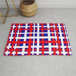 Patriotic Interlocking Stripes Rug