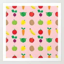A Cute Concoction of Fruit and Vegetables. Vegan Heaven! Art Print