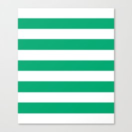 Sesame Street Green - solid color - white stripes pattern Canvas Print
