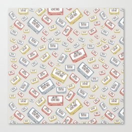 Primary Mixtapes on Neutral Grey Canvas Print