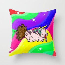 An ugly Unicorn craping out of his butt Throw Pillow