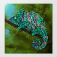 chameleon Canvas Prints featuring Chameleon by Ben Geiger