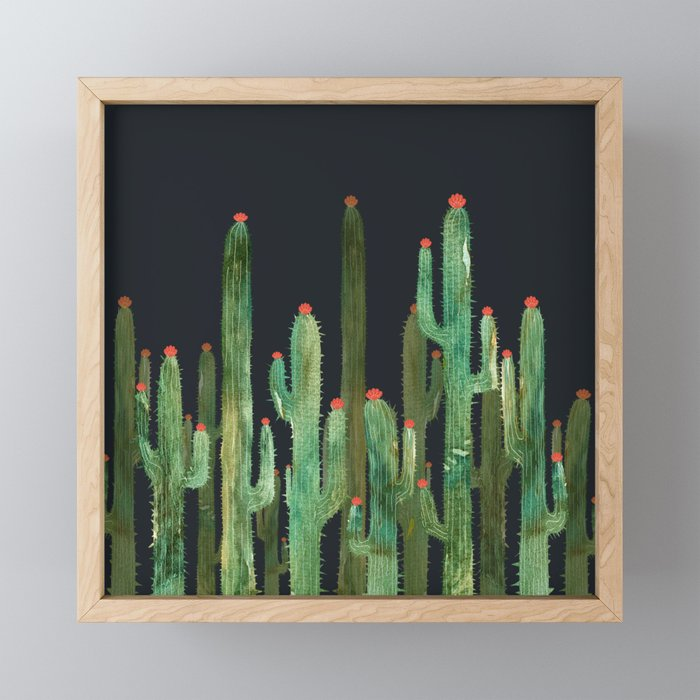 Cactus 4 at night Framed Mini Art Print