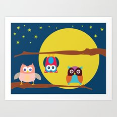 Cute Owls in the Night Art Print
