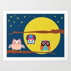 Cute Owls in the Night Art Print