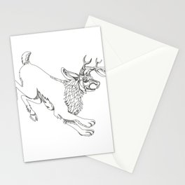 Jackalope Hopping Doodle Art Stationery Cards