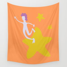 Reach for the Stars - Yellow Wall Tapestry