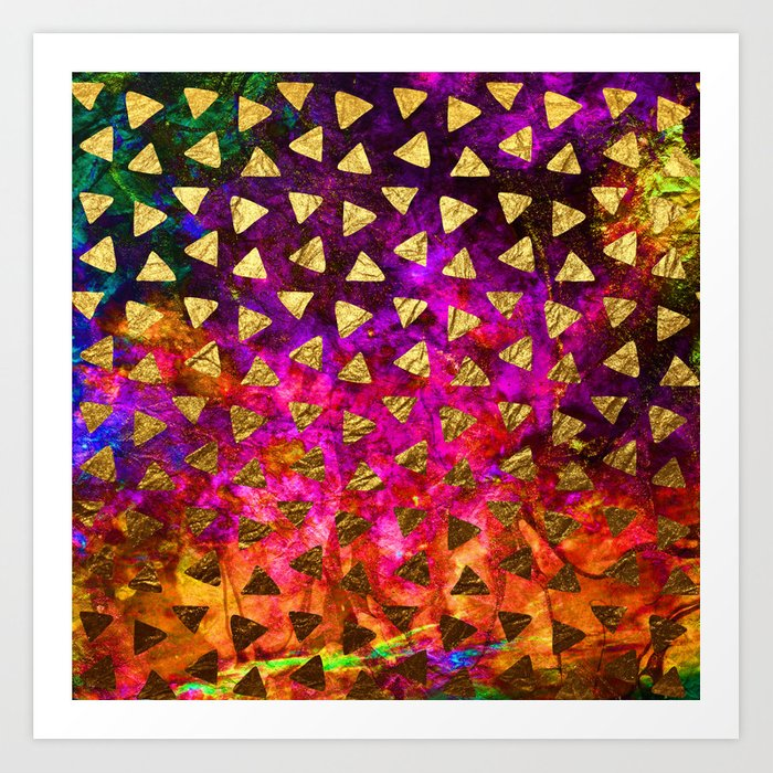 Triangles golden foil Art Print