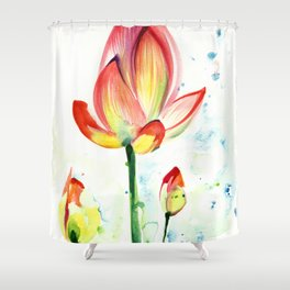 LOTUS FLOWER WITH BUDS Watercolor Shower Curtain