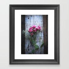 Rustic Pink Roses Framed Art Print