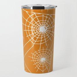 Spooky Halloween Spiders and Webs~ Orange Background Travel Mug