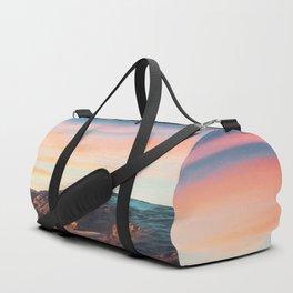 Mountain cliff with beautiful sky Duffle Bag