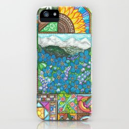 Mountains and Forget-Me-Nots iPhone Case