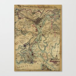 Vintage Savannah Georgia Civil War Map (1864) Canvas Print