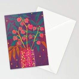 Chinese Lanterns in Neon Colors, Physalis, Abstract Botanical Bold Floral Stationery Cards