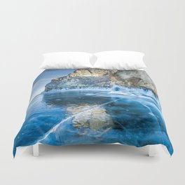 Blue Ice of the Lake Baikal Duvet Cover