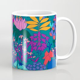 Psychedelic Jungle Garden in Pond Teal Coffee Mug