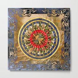Sea Dragon Compass Rose Metal Print