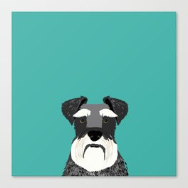 Schnauzer dog head cute gifts for schnauzers lovers dog breed art Canvas Print