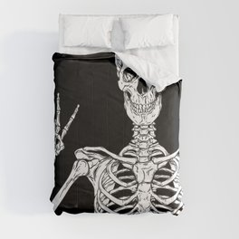 Human skeleton posing isolated over black background vector illustration Comforters