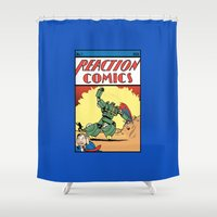 transformer Shower Curtains featuring Reaction Comics by The Cracked Dispensary