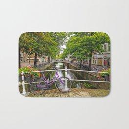 Bike on Canal Bridge (Delft, Netherlands) Bath Mat