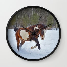 Romping in the snow Wall Clock