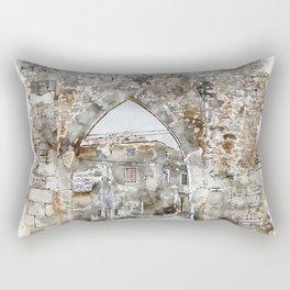 Aquarelle sketch art. Beautiful ancient stone buildings in Istria, Croatia Rectangular Pillow