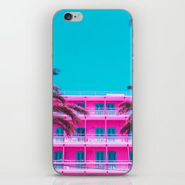 pink hotel and palm tees. iPhone Skin