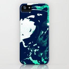 Navy Blue, Black, Blue, Bold Green Wave iPhone Case