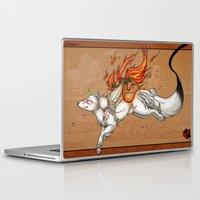 okami Laptop & iPad Skins featuring Okami - Cherry Blossom Storm by BlueHunter